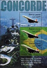MODERN GEMS - Sierra Leone - The Concorde 206 G-BOAA Over Rio - Sheet of 3 - MNH