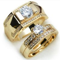 lover Gold Plated Stainless Steel Wedding Couple Ring Engagement Rings Set