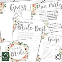 Hen Party Games Accessories Boho Design Who Knows The Bride Advice To Bride