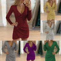 Deep V Neck Party Evening Bodycon Mini Dress Women Sequin Formal Wrap  Club
