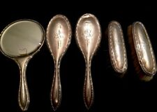 Antique Sterling Silver Vanity Brush Set 5 Piece J&R Script Hallmarked