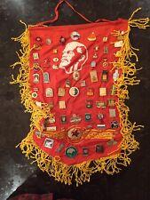 Lenin communist banner PROPAGANDA flag vintage with 90 medals, badges rare