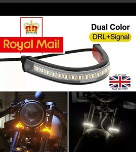 2X LED Universal Flowing Amber Motorcycle Fork Turn Signal Indicator Light Strip