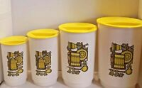 Vintage 1970's 8 Piece Yellow Plastic Nesting Kitchen Canister Set RETRO