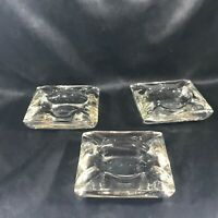 Set of 3 Vintage Heavy Clear Glass Ashtrays