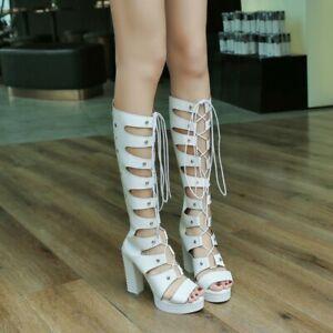Women Block Heel Platform Sandals Boots Summer Knee High Boots Punk Gothic Shoes