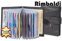Rimbaldi® Leder Kreditkartenetui in Schwarz mit Kroko-Prägung und viel Platz