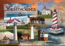 Michigan Lighthouses, Presque Isle, Grand Traverse etc. MI - Lighthouse Postcard