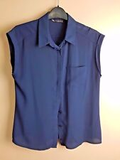 LADIES NAVY SHORT SLEEVED BUTTONED BLOUSE SIZE 10 - LOVELY ITEM