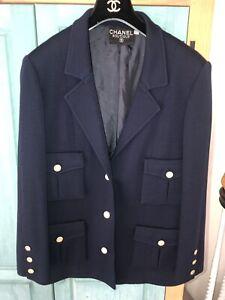 Chanel NAVY BLUE Couture Blazer VINTAGE SZ 40 Medium
