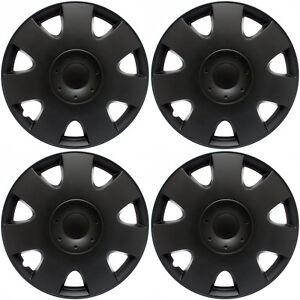 "Hub Caps 4 piece Set BLACK MATTE for 16"" Inch Wheel Covers Cap Cover"