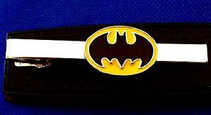 Batman Tie Bar Superhero Tie Clip Comic BATMAN Black And yellow logo Tie Clasp