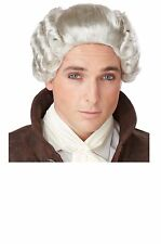 Gray 18th Century Peruke Wig Colonial Man Victorian Christmas Caroler Fezziwig