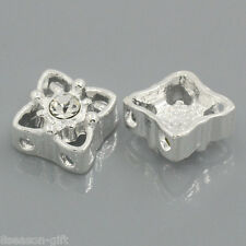 5PCs Gift Spacer Beads Slider With Rhinestone 2 Holes 11mm x 11mm