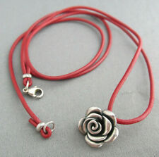 VINTAGE JAMES AVERY STERLING RED LEATHER ROPE 3D ROSE FLOWER PENDANT NECKLACE