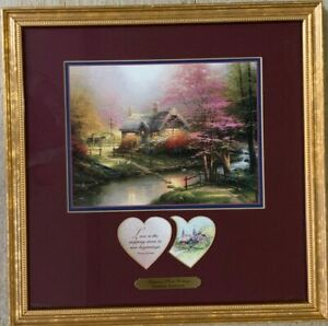 "Thomas Kinkade Matted Framed  ""Stepping Stone Cottage""  w/heart sentiments COA"