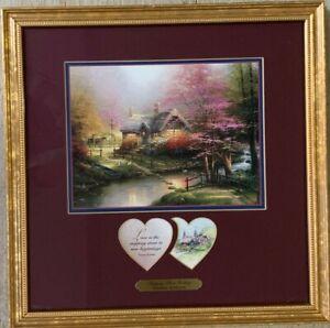"Thomas Kinkade Matted Framed  ""Stepping Stone Cottage""  w/heart sentiments COA"