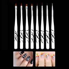 8Pcs UV Gel Pen Brush Nail Art Acrylic 8 Size Flat Brush Pen Dotting Tool Set bg