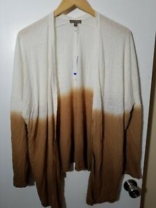 1 NWT LILLA P WOMEN'S CARDIGAN, SIZE: LARGE, COLOR: WHITE/BROWN (J179)