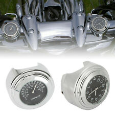 "7/8"" 1""Handlebar Clock Thermometer For Yamaha Road Star Warrior Midnight XV 1600"