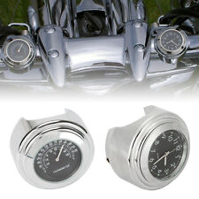 "7/8"" 1"" Handlebar Clock Thermometer For Suzuki Intruder VS 700 750 800 1400 1500"