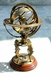 Nautical Brass Sphere Globes World Base Compass Marine Large Engraved Armillary