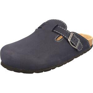 Cloxx Damen Schuhe T67917 bequeme Clogs Pantoffeln Hausschuhe Lederfußbett Blau