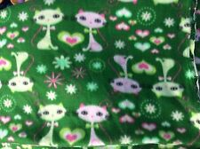 "Siamese kitty kitten CAT  FLEECE FABRIC-Green Hearts 60""w, BTY"