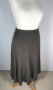M&S Woman Taupe A Line Cotton Fully Lined Midi Skirt Size 14