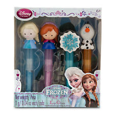 Disney Store FROZEN Lip Balm Gloss 4pc Set Anna Elsa Olaf Princess Gift New !