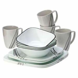 CORELLE Studio Collection 16 Pc Set SIMPLE SKETCH Square Plates Bowls Mugs NEW