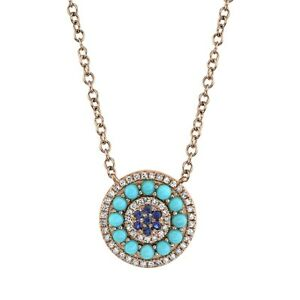 14K Rose Gold Sapphire Turquoise Diamond Pendant Necklace Natural Womens 0.69TCW