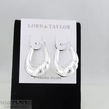 STERLING SILVER 925 LORD & TAYLOR HOOP EARRINGS LIGHT WEIGHT NWT $80