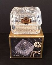 "NIB Full Lead Crystal BOW Trinket Box 2-3/4"" Square By Kristal Zajecar w Sticker"