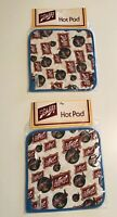 "Lot Of 2 Schlitz Beer Hot Pad Sealed New  Package 10"" Square Vintage Old Stock"