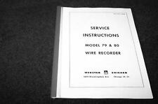 Webster Chicago 79 & 80 Wire recorder service manual reprint