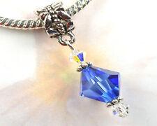 Blue Crystal Dangle Charm Bead with Swarovski Elements European Style