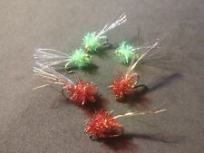 New! Salmon/Steelhead, Estaz Tracer Egg, Per 6, Solid Chartreuse/Blood Red*