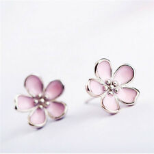 Jewelry Enamel Gift Pink Cherry Blossom Flower Earrings Stud Earrings