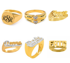 Fine .925 Sterling Silver 14K Gold ANY NAME Personalized Ring W Stones SIZE 4-11