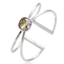 White Gold Filled Swarovski® Elements Mystic Fire Topaz Cuff Bangle Bracelet B22