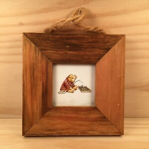 """FISHING TEDDY BEAR """"Brown"""" Small Wooden Picture Plaque Decorative Wall Art"""