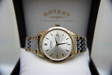NEW Rotary mens watch Gold plated Champagne dial RRP £189 Quartz IDEAL GIFT