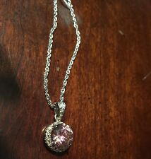 Kao Round Pink & White CZ Pendant PKPend Necklace
