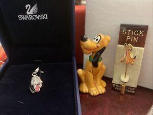 3 NEW DISNEY DOG PLUTO- SWAROVSKI CRYSTAL PENDANT W/ BOX, WDP FIGURE & STICK PIN