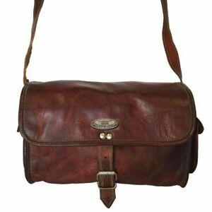 "Leather Travel Luggage Duffel Shoulder Gym Weekend Bag Women's Vintage 13"" Waxed"