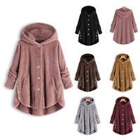 Winter Women Warm Fluffy Coat Overcoat Button Jacket Tops Outwear Loose Sweater