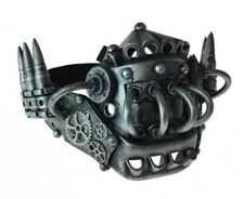 Silver Industrial Steampunk Half Mask Mouthpiece Bullets Gears Adult Mens