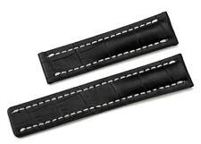 22 bracelet cuir véritable en noir pour montre Breitling + outil