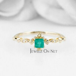 14K Gold Genuine Diamond And Square Shape Emerald Gemstone Art Deco Fine Ring